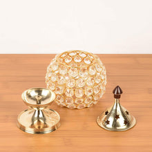 Load image into Gallery viewer, Akhand Diya Diyas Decorative Brass Crystal Oil Lamp, Tea Light Holder Lantern Oval Shape Diwali Gifts Home Decor Puja Lamp - CRAFT WORLD INDIA