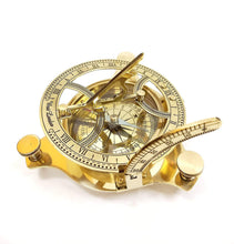 Load image into Gallery viewer, Brass Nautical Sun Dial Compass and Vernier Scale Golden, Size 3.5 inch - CRAFT WORLD INDIA