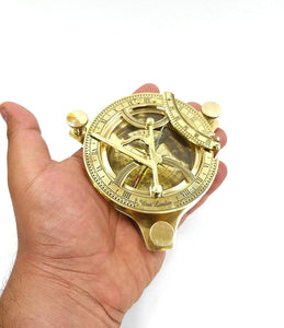 Brass Nautical Sun Dial Compass and Vernier Scale Golden, Size 3.5 inch - CRAFT WORLD INDIA