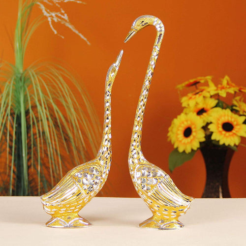Pair of love Kissing Swan/Duck Home Decor Showpiece in Metal - 19 inch (Silver) Large size - CRAFT WORLD INDIA