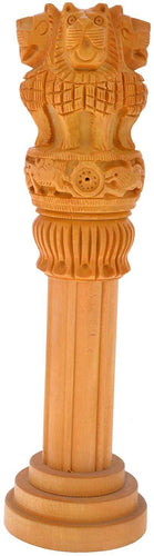 Ashoka Pillar Wooden Handicraft Administration Show Piece Gift Large Size 12 Inches Height - CRAFT WORLD INDIA