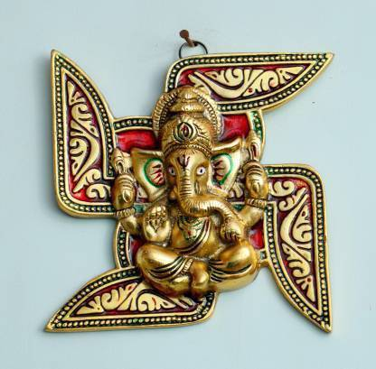 Metal Wall hanging Ganesha Placed On Swastik decorative showpiece - CRAFT WORLD INDIA