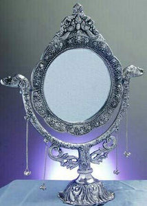 White Metal Antique Casting Fish Stand Mirror (Silver, 22.86 x 20 x 27. 94 cm) - CRAFT WORLD INDIA