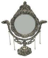 Load image into Gallery viewer, White Metal Antique Casting Fish Stand Mirror (Silver, 22.86 x 20 x 27. 94 cm) - CRAFT WORLD INDIA