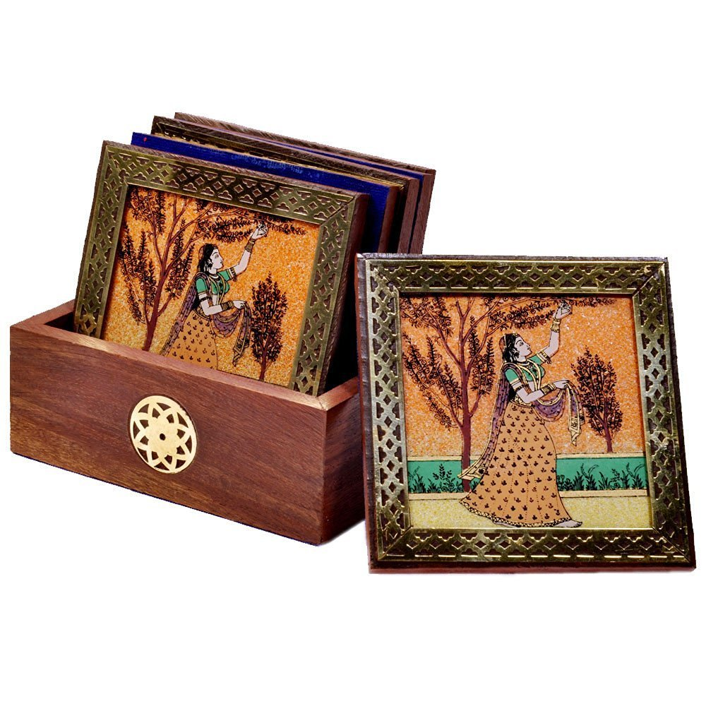 Antique Handmade Painted Gemstone Painting Wood Tea Coaster (Brown) - CRAFT WORLD INDIA