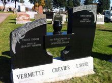 Load image into Gallery viewer, Monument with bevelled sub base in cemetery