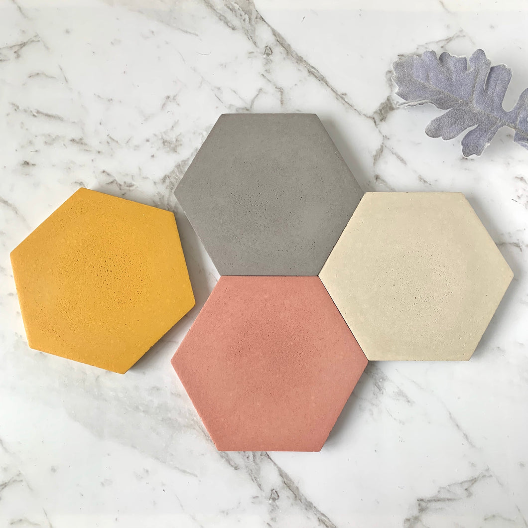 Spring Concrete Hex Coaster set