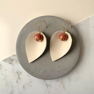 Pinched Leather & Maroon Concrete Earrings
