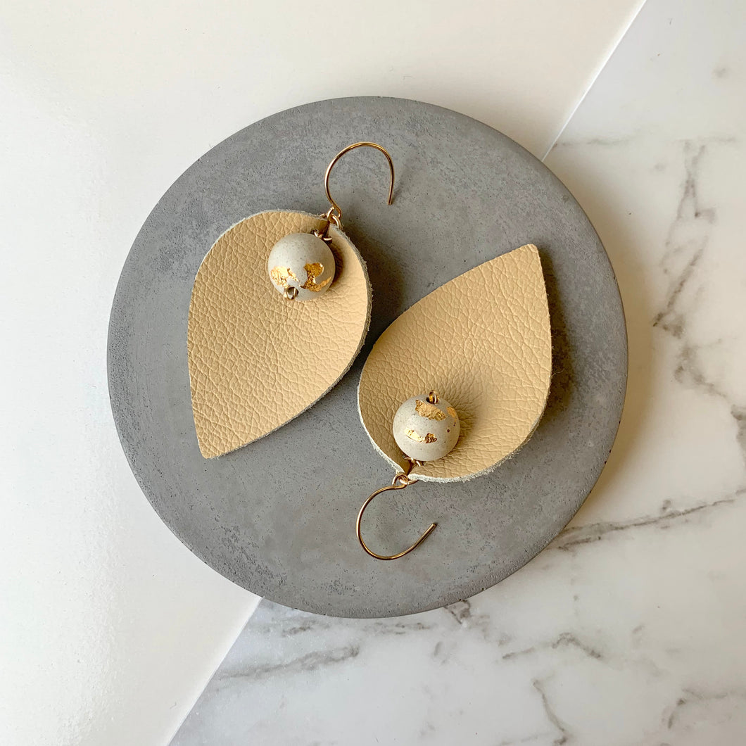 Pinched Leather & White Concrete Earrings