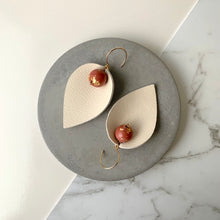 Load image into Gallery viewer, Pinched Leather & Maroon Concrete Earrings