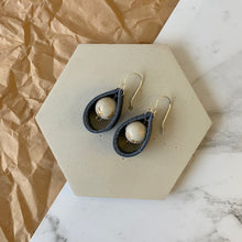 Load image into Gallery viewer, Leather Loop Concrete Earrings