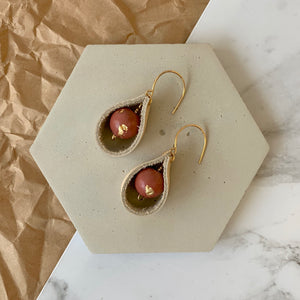Leather Loop Concrete Earrings