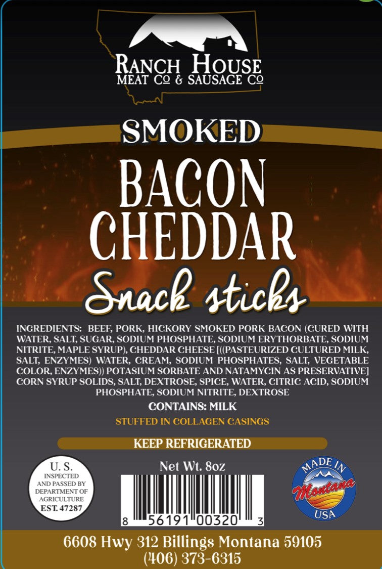 8 ounce Bacon Cheddar Snack Stick 6-Pack Package