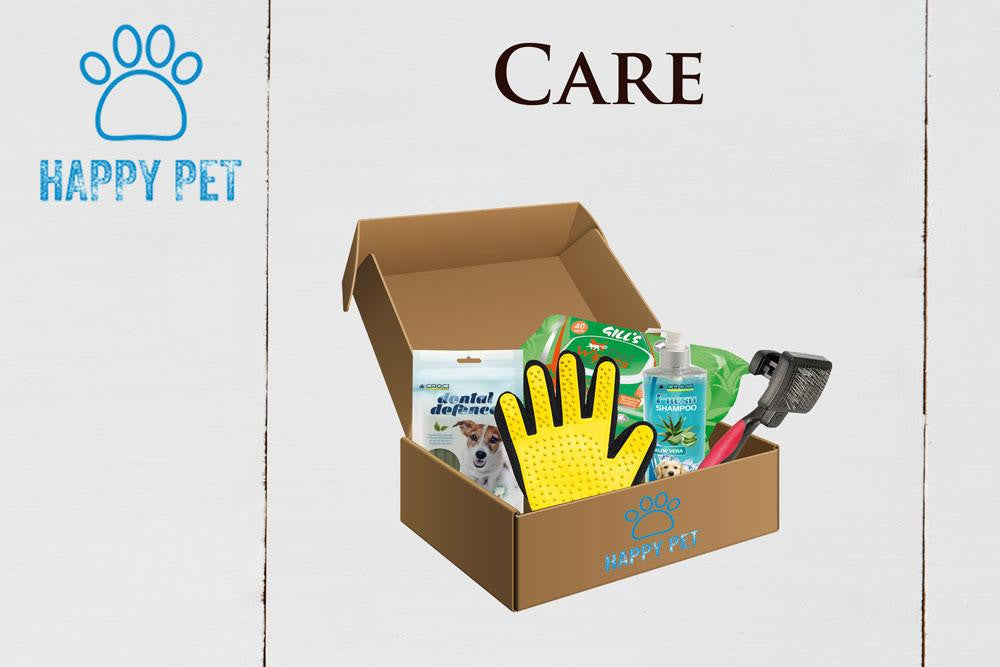 Happy Pet Box Care Accessori Cani Guanto Groomy Shampoo Aloe Stick igiene orale Spazzola Pelo Salviette Aloe