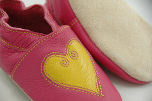 Wee·Kicks · Pink & Yellow Hearts · Handcrafted Leather Footwear · Soft Sole Baby and Toddler Shoes ·