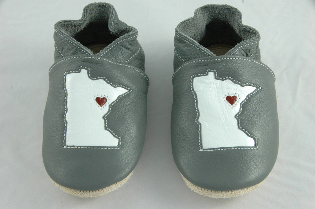Wee·Kicks · Gray & White Minnesota · Handcrafted Leather Footwear · Soft Sole Baby and Toddler Shoes ·
