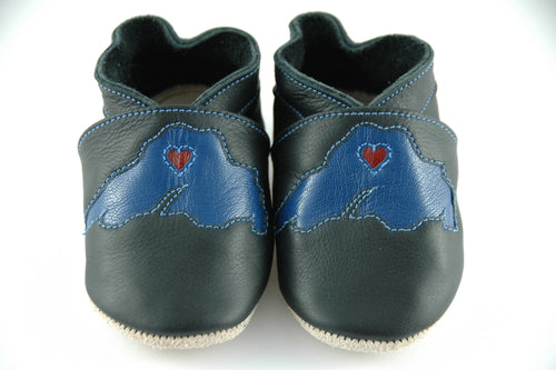Wee·Kicks · Black & Blue Lake Superior · Handcrafted Leather Footwear · Soft Sole Baby and Toddler Shoes ·