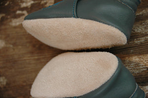 Wee·Kicks · Gray & Teal Lake Superior · Handcrafted Leather Footwear · Soft Sole Baby and Toddler Shoes ·