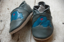 Load image into Gallery viewer, Wee·Kicks · Gray & Teal Lake Superior · Handcrafted Leather Footwear · Soft Sole Baby and Toddler Shoes ·