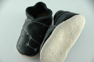 Wee·Kicks · Black Constellations · Handcrafted Leather Footwear · Soft Sole Baby and Toddler Shoes ·