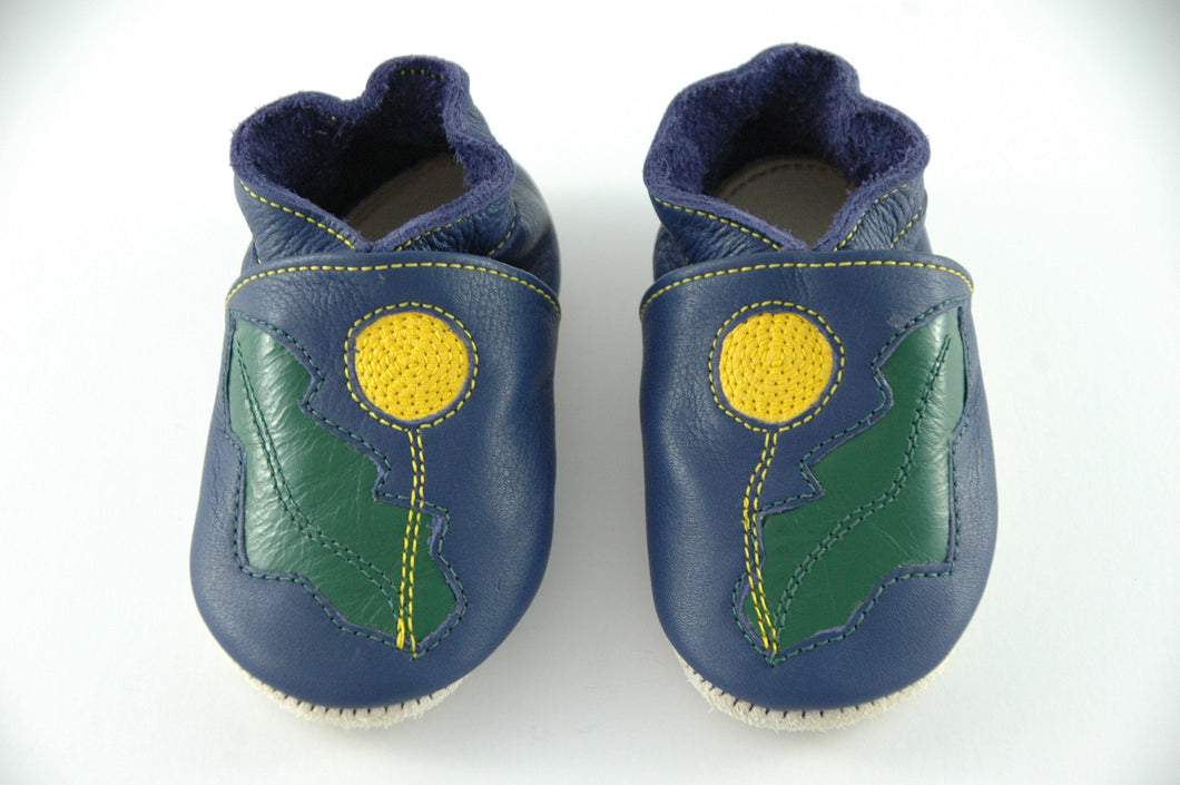 Wee·Kicks · Indigo & Yellow/Green Dandelions · Handcrafted Leather Footwear · Soft Sole Baby and Toddler Shoes ·