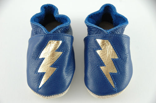 Wee·Kicks · Blue & Gold Lightning Bolts · Handcrafted Leather Footwear · Soft Sole Baby and Toddler Shoes ·
