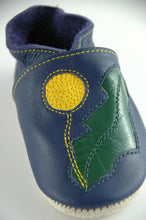 Load image into Gallery viewer, Wee·Kicks · Indigo & Yellow/Green Dandelions · Handcrafted Leather Footwear · Soft Sole Baby and Toddler Shoes ·