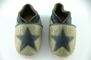 Wee·Kicks · Embossed Olive With Black Star · Handcrafted Leather Footwear · Soft Sole Baby and Toddler Shoes ·