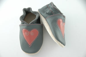 Wee·Kicks · Grey & Roe Hearts · Handcrafted Leather Footwear · Soft Sole Baby and Toddler Shoes ·