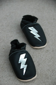 Wee·Kicks · Black & Silver Lightning Bolts · Handcrafted Leather Footwear · Soft Sole Baby and Toddler Shoes ·