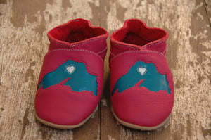 Wee·Kicks · Pink & Teal Lake Superior · Handcrafted Leather Footwear · Soft Sole Baby and Toddler Shoes ·
