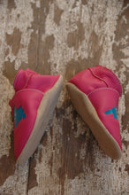 Load image into Gallery viewer, Wee·Kicks · Pink & Teal Lake Superior · Handcrafted Leather Footwear · Soft Sole Baby and Toddler Shoes ·