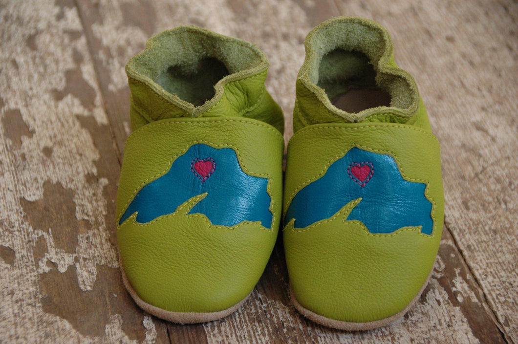 Wee·Kicks · Lime & Teal Lake Superior · Handcrafted Leather Footwear · Soft Sole Baby and Toddler Shoes ·