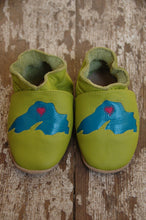 Load image into Gallery viewer, Wee·Kicks · Lime & Teal Lake Superior · Handcrafted Leather Footwear · Soft Sole Baby and Toddler Shoes ·