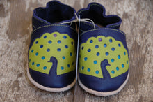 Load image into Gallery viewer, Wee·Kicks · Indigo & Lime Peacocks · Handcrafted Leather Footwear · Soft Sole Baby and Toddler Shoes