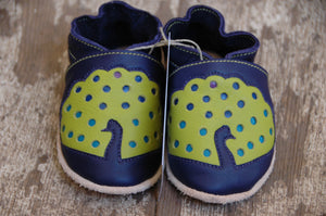 Wee·Kicks · Indigo & Lime Peacocks · Handcrafted Leather Footwear · Soft Sole Baby and Toddler Shoes