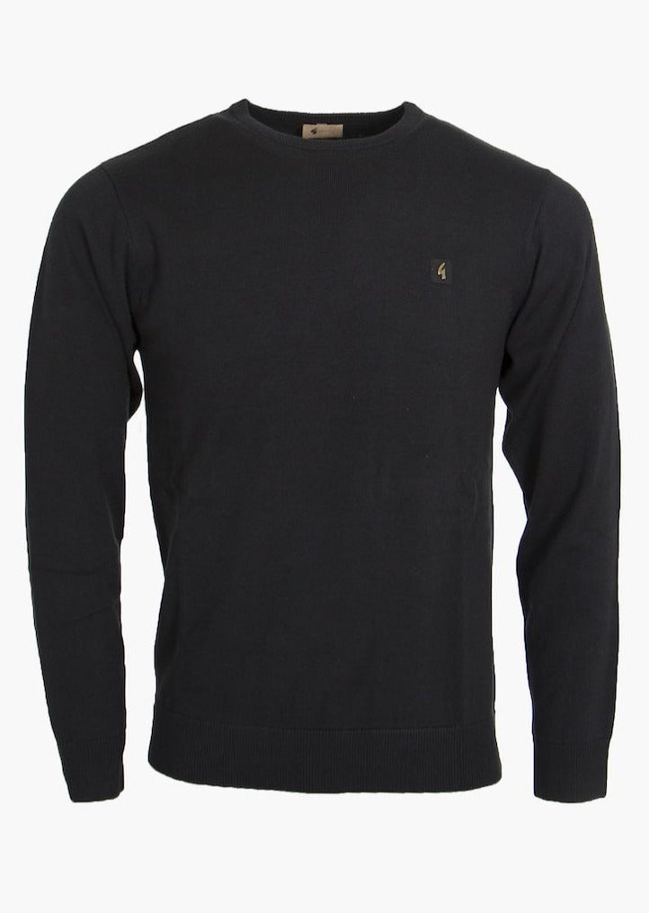 Cole Black Knitted Crew-Neck Jumper