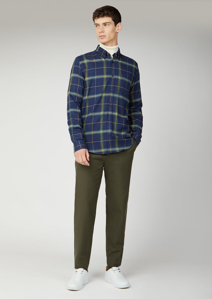 Navy With Green Check Textured Herringbone Shirt