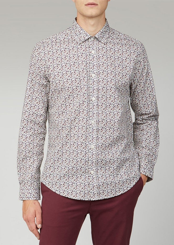 Red, Blue & Purple Micro Floral Print Shirt