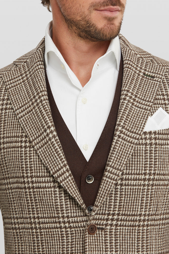 Elliot Beige & Brown Windowpane Check Pattern Blazer