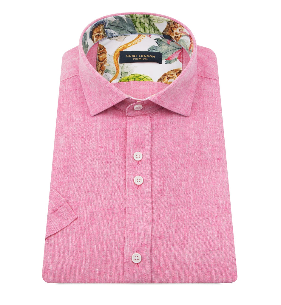 Pink Marl Linen Short-Sleeved Shirt
