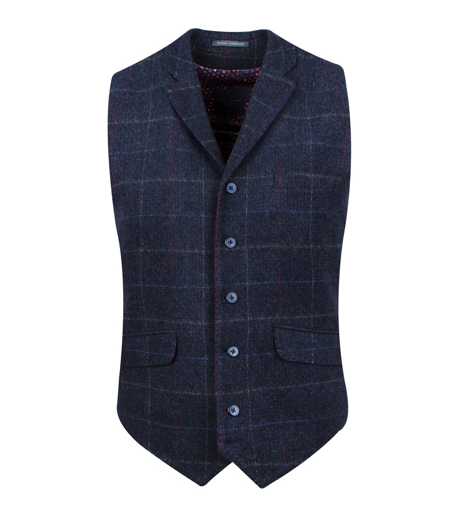 Navy With Multicolour Windowpane Check Waistcoat
