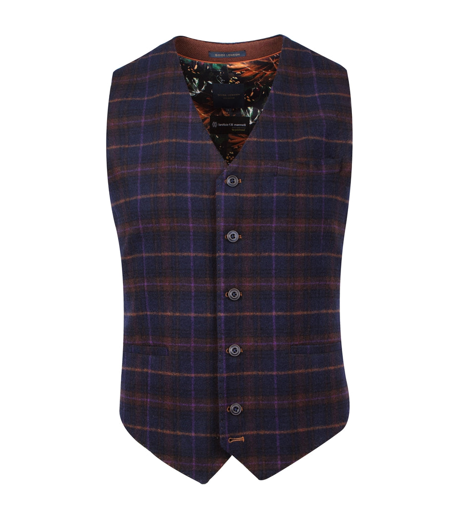 Navy With Orange & Purple Plaid Check Suit Waistcoat