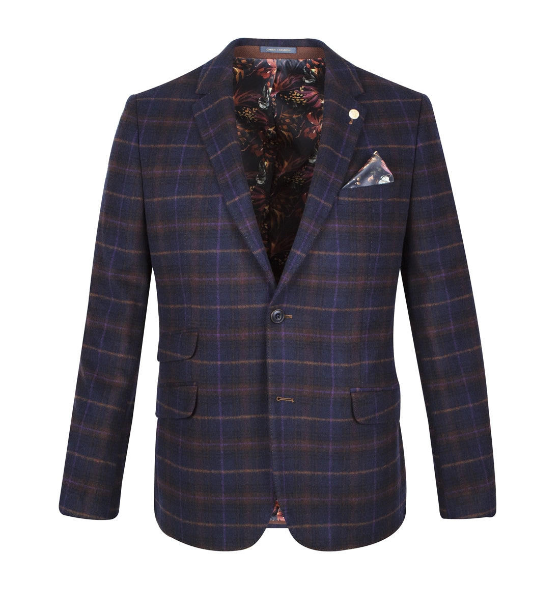 Navy With Orange & Purple Plaid Check Suit Jacket