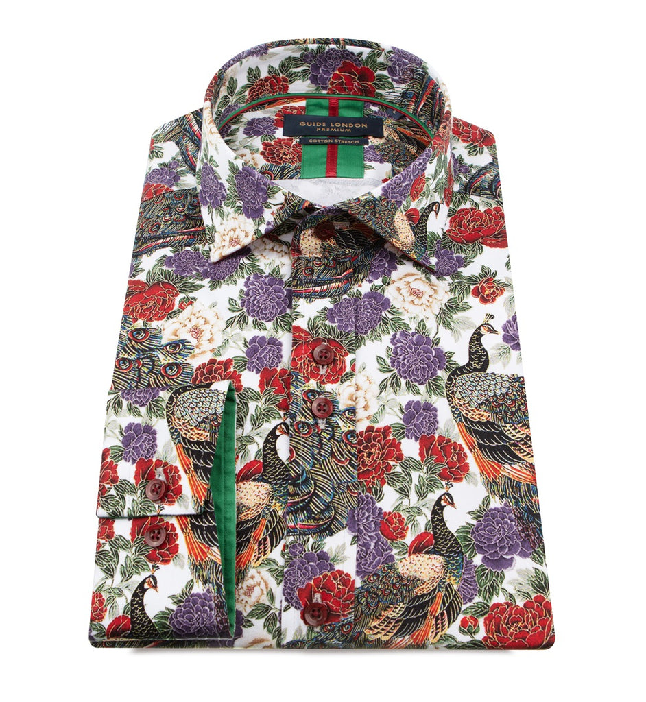 Multicolour Peacock With Floral Print Shirt