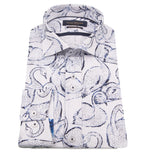 White & Blue Swan Print Shirt