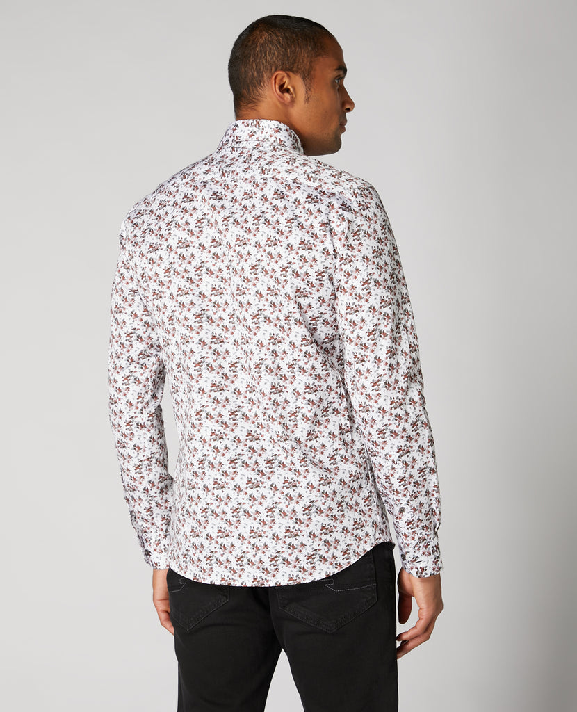 White With Red & Grey Floral Pattern Shirt