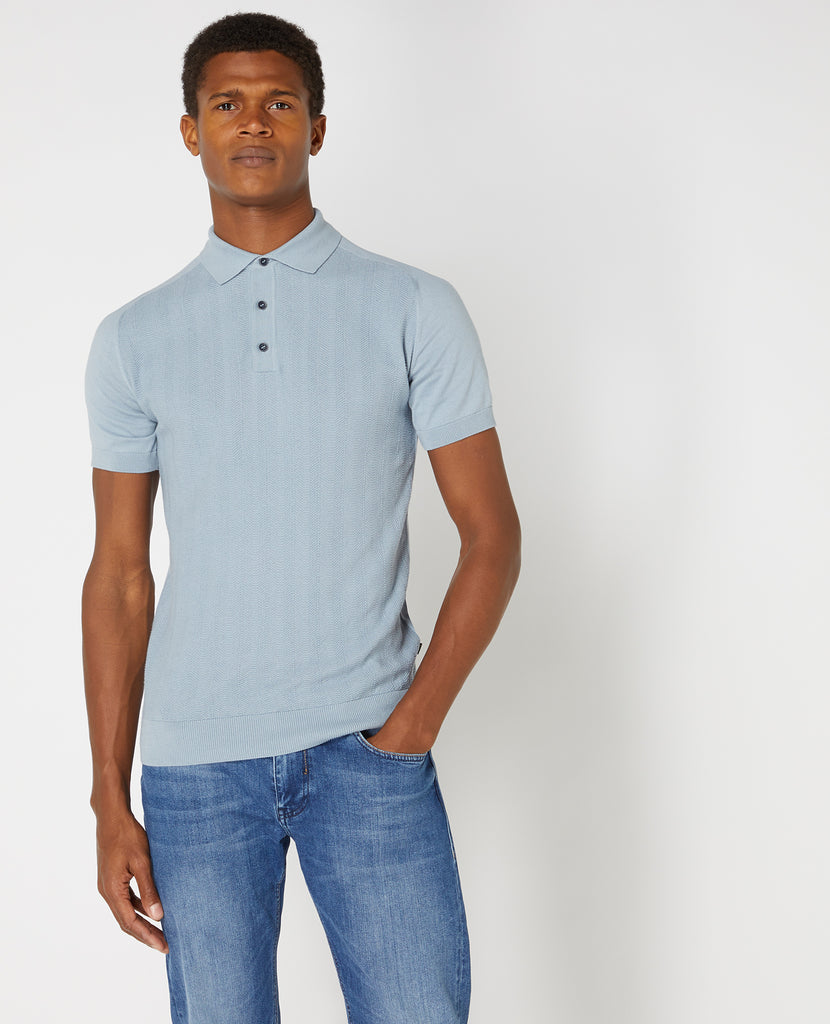 Pastel Blue Textured Weave Pattern Knitted Polo Shirt