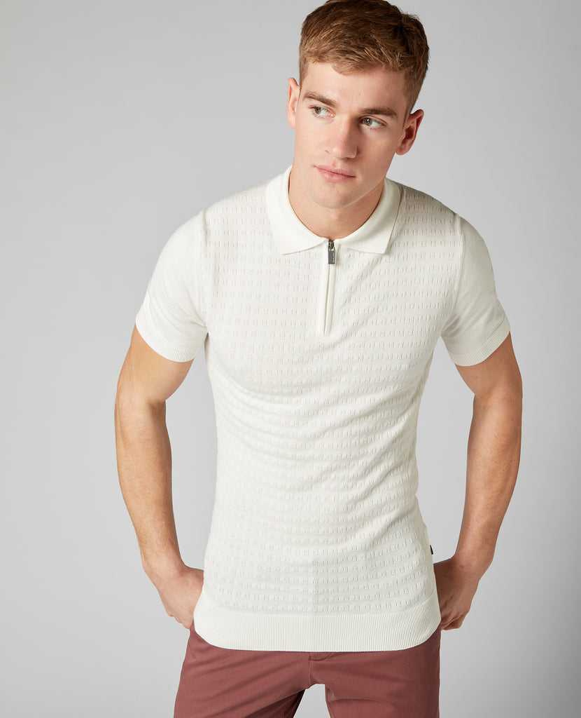 White Textured Waffle Pattern Knitted Polo Shirt