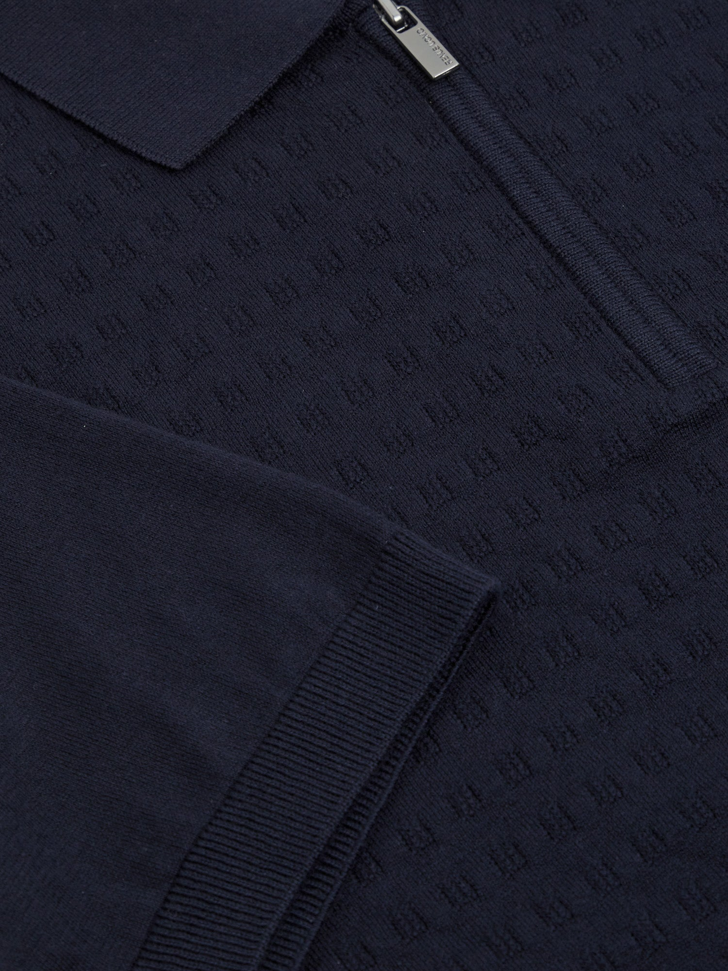 Navy Textured Waffle Pattern Knitted Polo Shirt